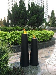 Brûleurs de jardin, zinc, noir, ensemble de 2