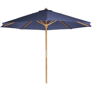 Parasol en teck, bleu