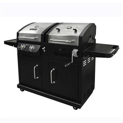 Gas and Charcoal 2-Burner Barbecue - 24,000 BTU - Black