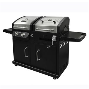 Barbecue au gaz/charbon, 2 brûleurs, 24 000 BTU, noir