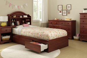 Step One Mates Bed with 3 Drawers - Royal Cherry
