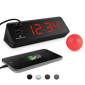 Horloge LED Marathon, rectangle, noir