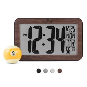 Horloge murale numérique Marathon, rectangle, bois