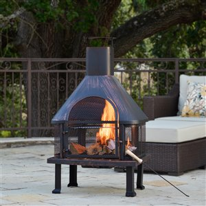 Starsong Oil Rubbed Bronze/Black Fuoco Outdoor Fireplace
