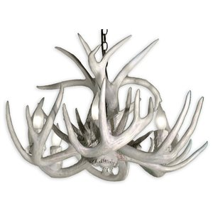 Canadian Antler Designs WhiteTail Gray 6-Light Antler Chandelier