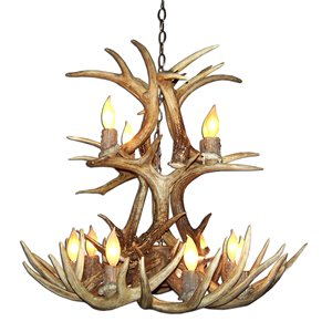Canadian Antler Designs WhiteTail Gray 12-Light Cascade Antler Chandelier