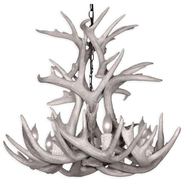 Chandelier Whitetail, 8 lumières, gris