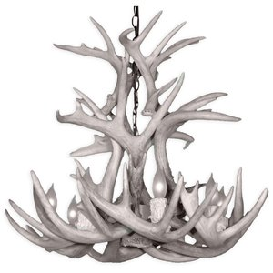 Canadian Antler Designs WhiteTail Gray 8-Light Antler Chandelier
