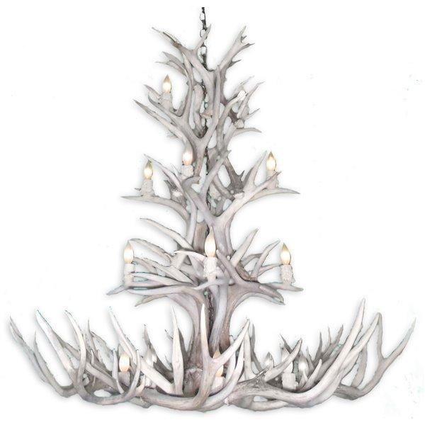 Canadian Antler Designs White Tail Gray 12-Light Antler Chandlier