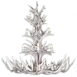 Canadian Antler Designs White Tail Gray 12-Light Antler Chandlier