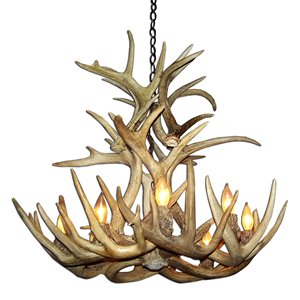 Canadian Antler Designs WhiteTail Brown 8-Light Antler Chandelier