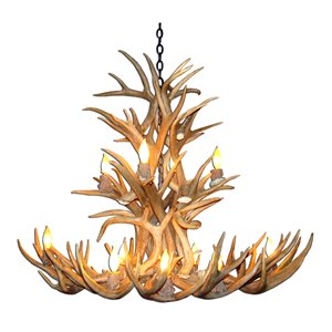 Chandelier Whitetail, 12 lumières, brun