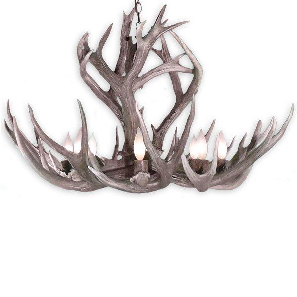 Canadian Antler Designs Mule Deer 6-Light Natural Brown Antler Chandelier