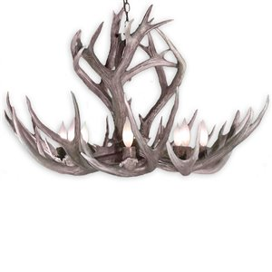 Canadian Antler Designs Mule Deer 6-Light Natural Brown Antler Chandelier