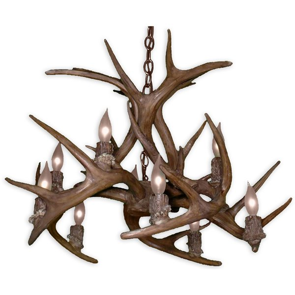 Canadian Antler Designs Reproduction Brown 10-Light Whitetail Antler Chandelier