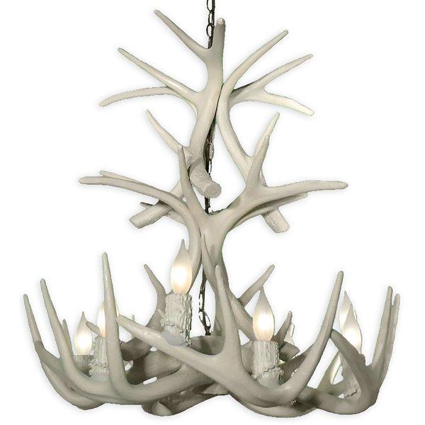 Chandelier en faux bois Whitetail, 9 lumières, blanc