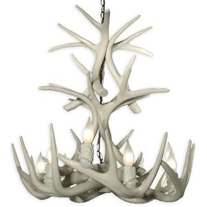 Reproduction White 9-Light Whitetail Antler Chandelier