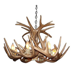 Canadian Antler Designs Reproduction Brown 6-Light Whitetail Antler Chandelier