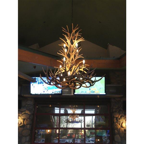Chandelier en faux bois de chef mulet, 12 lumières, brun