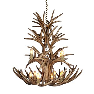 Reproduction Brown 12-Light Mule Deer Antler Chandelier