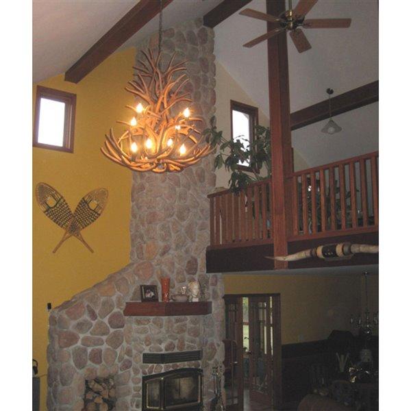 Chandelier en faux bois Whitetail, 12 lumières, brun
