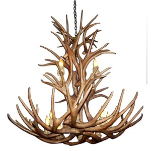 Canadian Antler Designs Reproduction Brown 12-Light Mule Deer Antler Chandelier