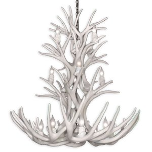 Canadian Antler Designs Reproduction White 12-Light Mule Deer Antler Chandelier