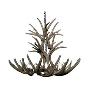 Reproduction Brown 8-Light Mule Deer Antler Chandelier
