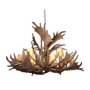 Reproduction Brown 12-Light Deer Antler Chandelier