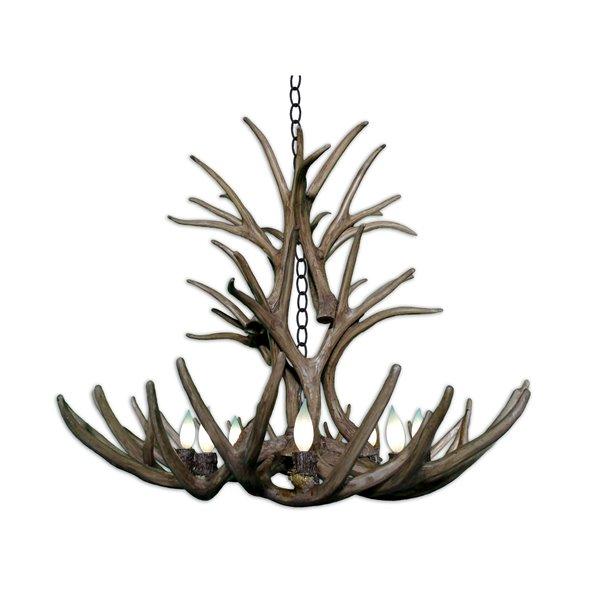Canadian Antler Designs Reproduction Brown 8-Light Mule Deer Chandelier