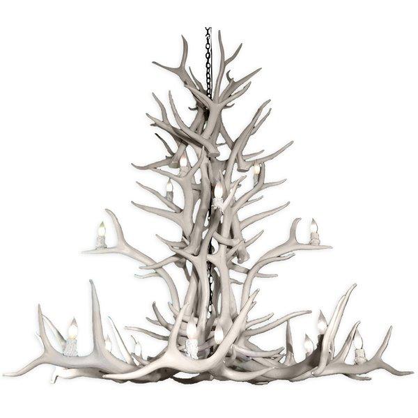 Chandelier en faux bois de wapiti, 15 lumières, blanc