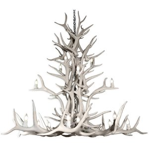 Canadian Antler Designs Reproduction White 15-Light Elk Antler Chandelier