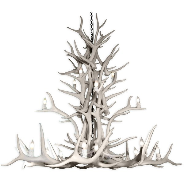 Canadian Antler Designs Reproduction White 20-Light Elk Antler Chandelier