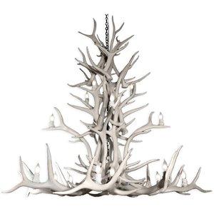 Chandelier en faux bois de wapiti, 20 lumières, blanc