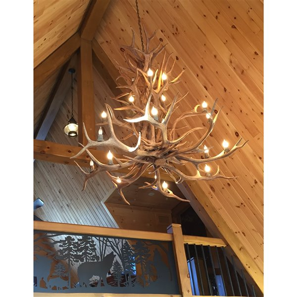 Chandelier en faux bois de wapiti, 15 lumières, brun