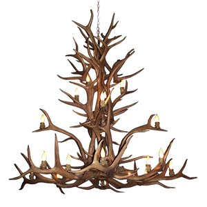Canadian Antler Designs Reproduction Brown 15-Light Elk Antler Chandelier