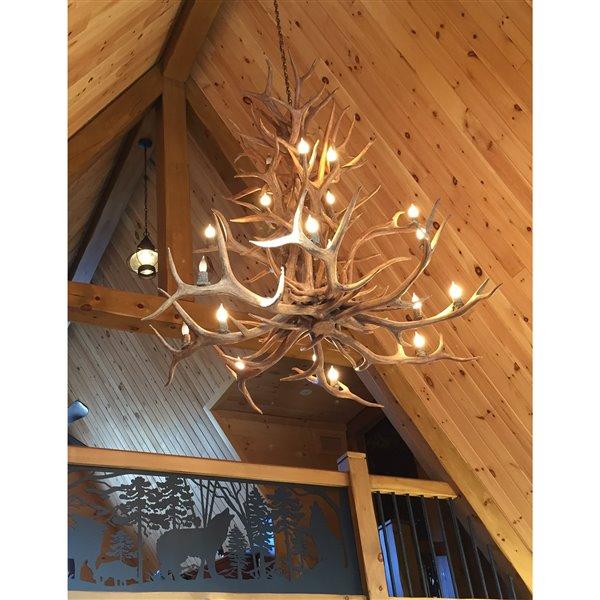 Chandelier en faux bois de wapiti, 20 lumières, brun