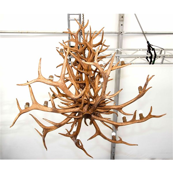 Canadian Antler Designs Reproduction Brown 16-Light Elk Antler Chandelier