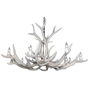 Reproduction White 12-Light Elk Antler Chandelier
