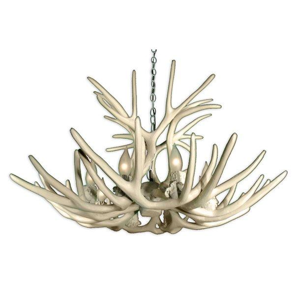 Chandelier en faux bois de cerf mulet, 8 lumières, blanc