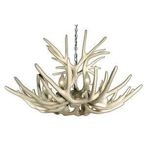Canadian Antler Designs Reproduction White 8-Light Mule Deer Antler Chandelier