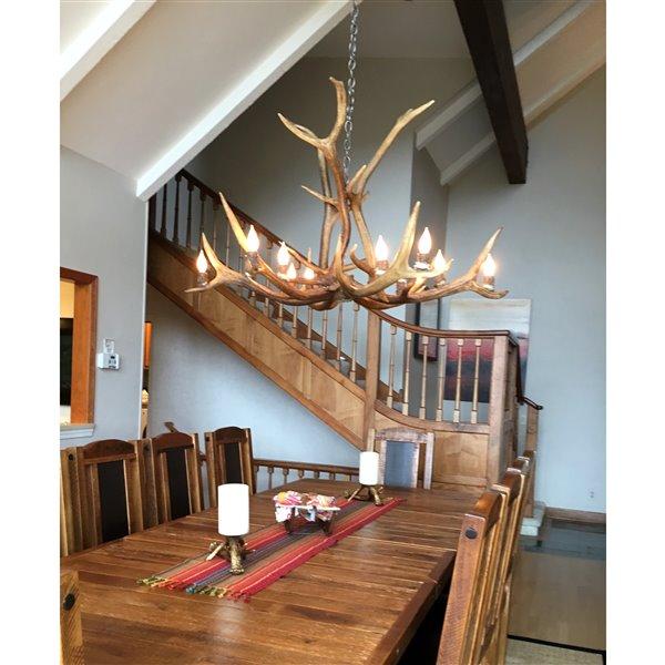 Chandelier en faux bois de wapiti, 12 lumières, brun