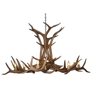 Canadian Antler Designs Reproduction Brown 12-Light Elk Antler Chandelier