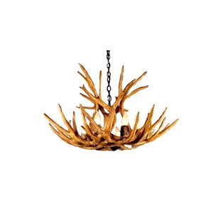 Canadian Antler Designs Reproduction Brown 6-Light Elk Antler Chandelier