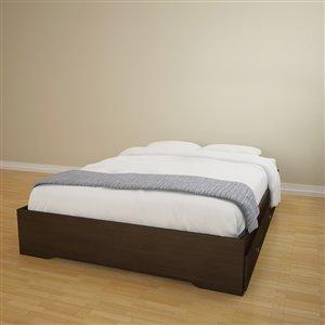 Nexera 3 Drawer Ebony 81.75-in x 62-in Queen Size Platform Bed