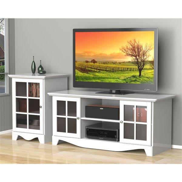 Nexera Pinnacle 56-in White TV Stand