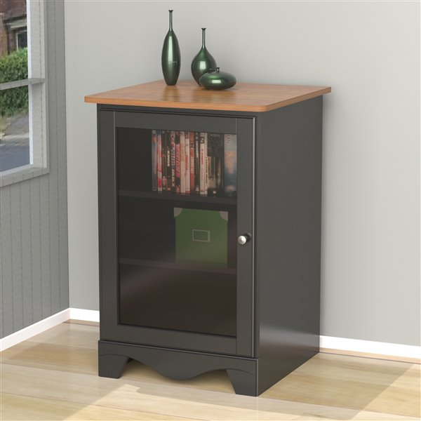 Cabinet audio Pinnacle, 1 porte, cerisier et noir