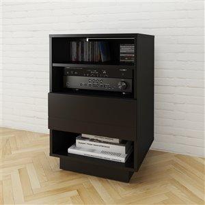 Nexera Stereo Black 1-Drawer Audio Cabinet
