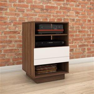 Cabinet audio Radar, 1 tiroir, noyer et blanc