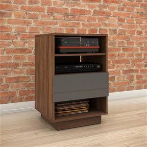 Cabinet audio Radar, 1 tiroir, noyer et gris charbon